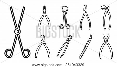 Clinic Forceps Icons Set. Outline Set Of Clinic Forceps Vector Icons For Web Design Isolated On Whit