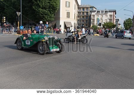 Brescia, Italy - May 19 2018: Mgpb 1935 Is An Old Racing Car In Rally Mille Miglia 2018, Live Shot A