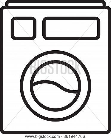 Black Line Washer Icon Isolated On White Background. Washing Machine Icon. Clothes Washer - Laundry