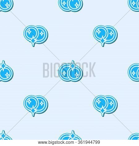 Blue Line Washing Dishes Icon Isolated Seamless Pattern On Grey Background. Cleaning Dishes Icon. Di