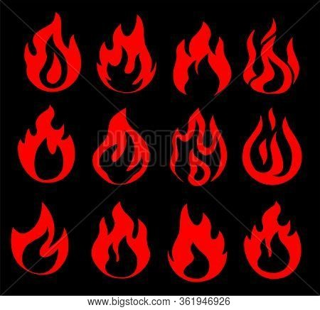 Fire Flames, Set Vector Icons. Fire Icon. Isolated On White Background. Scarlet Flame On A Black Bac