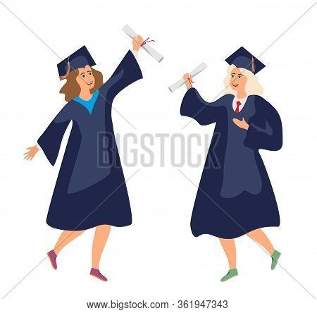 Two Graduate Students In Robes With A Diploma Are Happy. Graduation From College. University Female