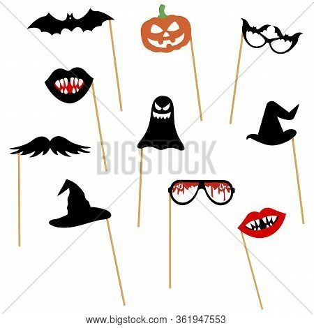 Photo Booth Props On Sticks, Collection For Halloween Party: Pumpkin, Mustache, Bat, Glasses, Hat, L
