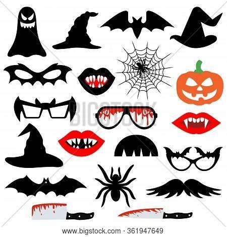Halloween Party Photo Booth Props Isolated On White Background. Vector Illustration