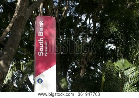 Brisbane, Queensland, Australia - 4th March 2020 : Close Up Of The South Bank Parklands Sign Located
