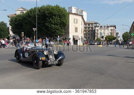 Brescia, Italy - May 19 2018: Riley Sprite Tt 1937 Is An Old Racing Car In Rally Mille Miglia 2018,