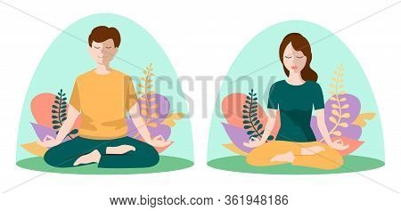 People Are Introverts. Young Woman And Man Sitting Inside Transparent Glass. Concept Of Separation F