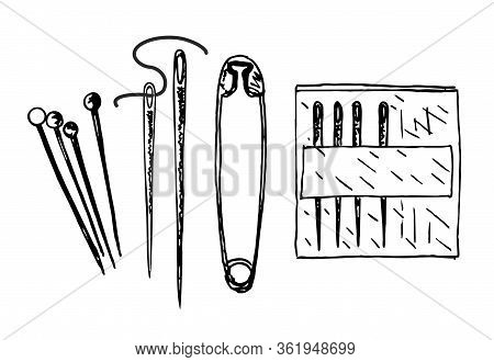 Sewing Needles And Pins. Sketch. Vector Black And White Hand Drawn Illustration In Vintage Engraved