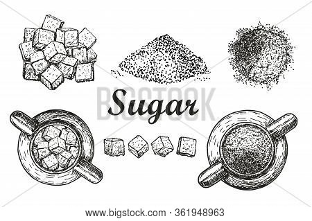 Set Sweet Refined Crystal Sugar And Sugar In Bulk White Background. Ingredient For Coffee, Tea. Suga