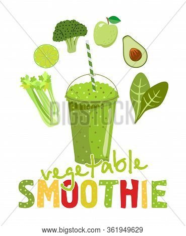 Healthy Natural Food Green Smoothie In Glass On White Background. Infographic Modern Premium Quality