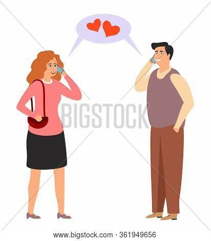 Lovers Are Talking On The Phone. Online Dating Vector Illustration. Distance Love. Modern Relationsh