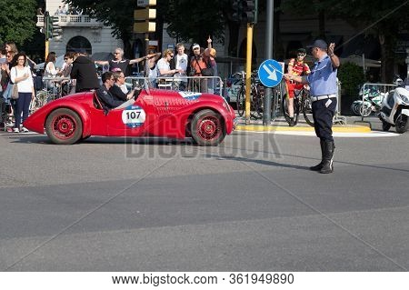 Brescia, Italy - May 19 2018: Fiat 1100 508 C Sport 1937 Is An Old Racing Car In Rally Mille Miglia