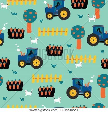 Tractors Seamless Kids Pattern. Tractor, Carrots, Fence, Apple Trees And Cats Repeating Vector Backg
