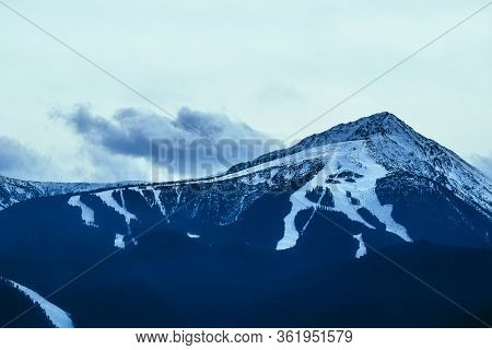 Balkans, Todorka Mountain Peak, Ski Tracks, Covered With Snow. Beautiful Alpine Natural Winter Backd