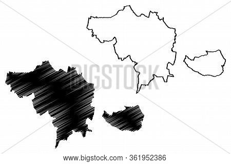 Ceske Budejovice City (czech Republic, Czechia) Map Vector Illustration, Scribble Sketch City Of Ces