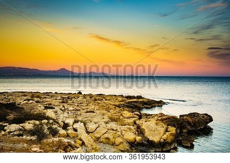 Seaside Landscape. Spanish Beach Rocky Sea Shore. Mediterranean Sea.