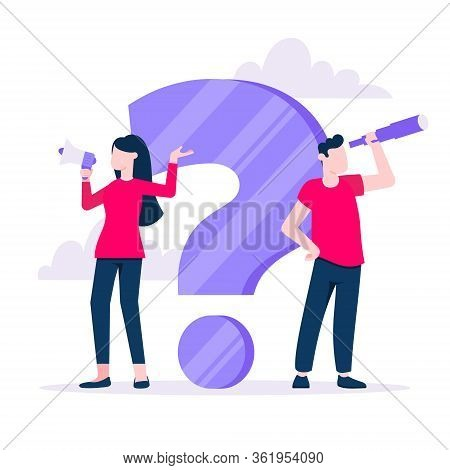 Q And A Concept With Tiny Man People Character With Big Question, Exclamation Mark, Frequently Asked