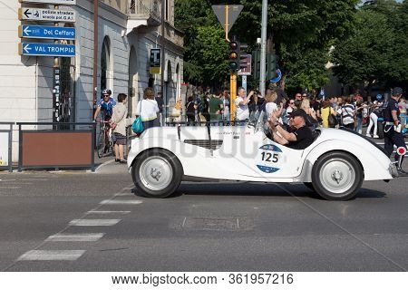 Brescia, Italy - May 19 2018: Bmw 328 1938 Is An Old Racing Car In Rally Mille Miglia 2018, Live Sho