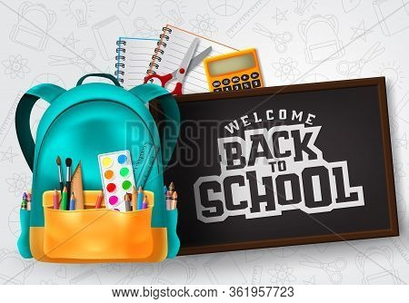 Welcome Back To School Vector Concept Design. Welcome Back To School Typography In Chalkboard Space