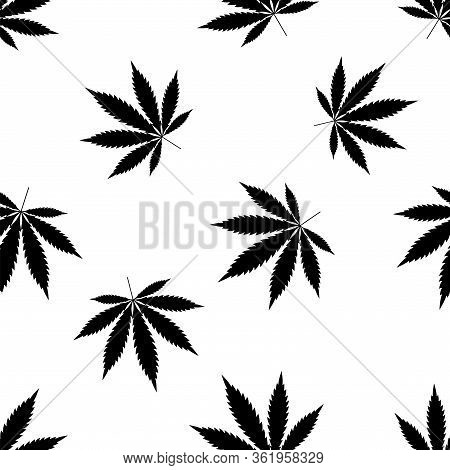 Cannabis Seamless Pattern. Marijuana Leaf, Black Weed Plant. Hashish Texture, Isolated White Backgro