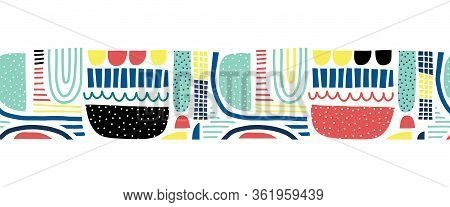 Abstract Doodle Shapes Collage Seamless Vector Border. Cute Geometric Shapes And Doodles Repeating P