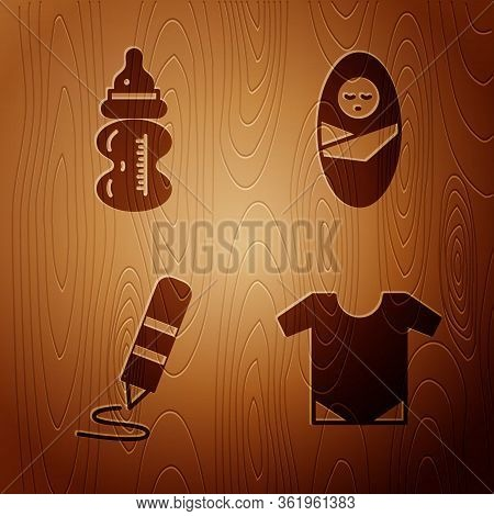 Set Baby Onesie, Baby Bottle, Wax Crayon For Drawing And Newborn Baby Infant Swaddled On Wooden Back