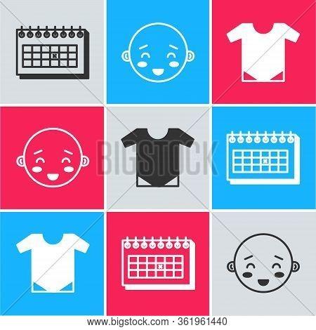 Set Calendar, Happy Little Boy Head And Baby Onesie Icon. Vector