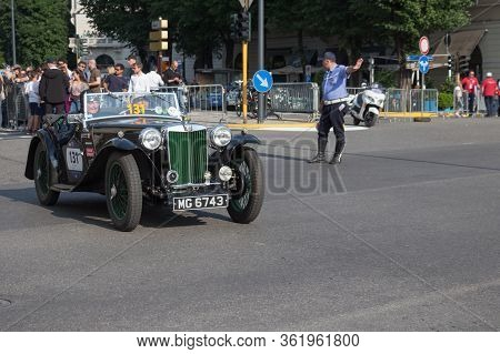 Brescia, Italy - May 19 2018: Mgtb 1939 Is An Old Racing Car In Rally Mille Miglia 2018, Live Shot A