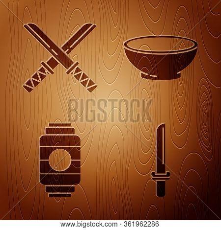 Set Japanese Katana, Traditional Japanese Katana, Japanese Paper Lantern And Bowl Of Hot Soup On Woo
