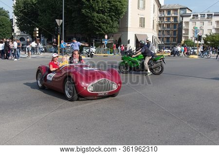 Brescia, Italy - May 19 2018: Zanussi Fiat 500 Sport Vendrame 1947 Is An Old Racing Car In Rally Mil