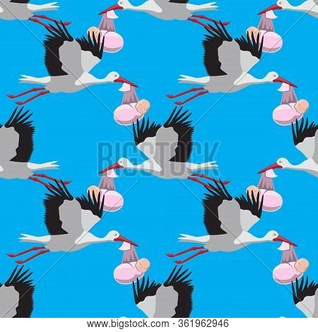 Seamless Pattern Of A Stork Carrying A Baby On A Blue Background. Vector Image Eps 10
