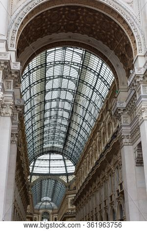 Milano, Italy - November 2019: Ceiling Of Vittorio Emanuele Ii Gallery: Shopping Mall In Milan In Th