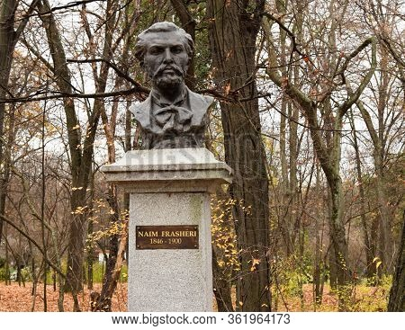 Bucharest, Romania - 22.11.2019 The Bust Of Naim Frasheri, The National Poet Of Albania, At King Mih