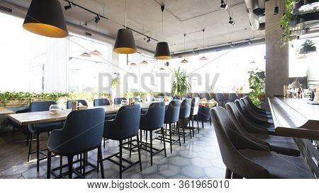 Modern Restaurant Or Cafe Interior. Public Place Interior Design, Quarantine Time, Nobody Indoors, C