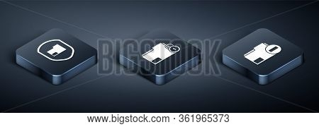 Set Isometric Document Folder Protection, Document Folder With Minus And Folder And Lock Icon. Vecto