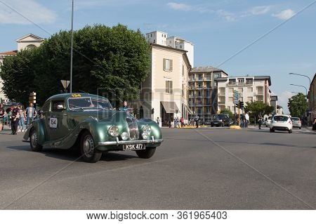 Brescia, Italy - May 19 2018: Bristol 400 1948 Is An Old Racing Car In Rally Mille Miglia 2018, Live