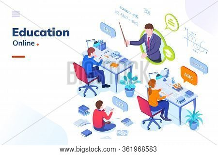 Online Education, School Student Lessons And University Distance Learning, Vector Isometric Concept.