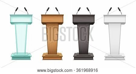 Podium Tribunes, Vector Realistic Isolate Set On White Background. Speaker Tribunes, Ceremony, Prese