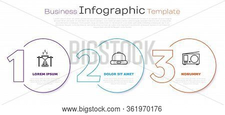 Set Line Campfire And Pot, Beanie Hat And Radio With Antenna. Business Infographic Template. Vector