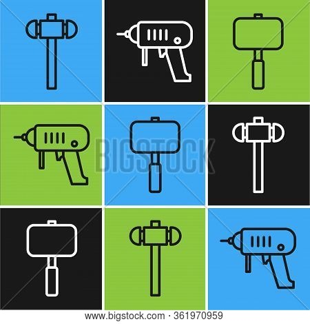 Set Line Sledgehammer, Sledgehammer And Electric Drill Machine Icon. Vector