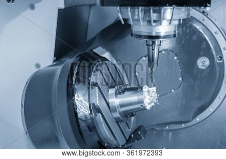 The  5 Axis Cnc Milling Machine Cutting The Turbocharger Blade For Automotive Parts With Solid Ball