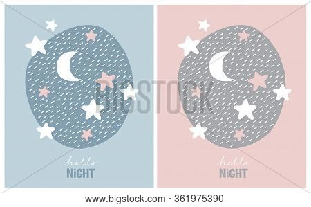 Cute Nursery Vector Art With Stars And Moon. Starry Night In An Irregular Frame On A Pink And Blue B