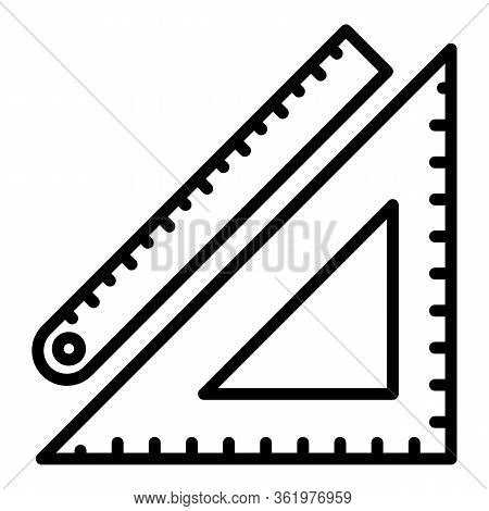 Math Ruler Icon. Outline Math Ruler Vector Icon For Web Design Isolated On White Background