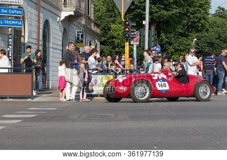 Brescia, Italy - May 19 2018: Gilco Mariani Fiat 1100 Sport 1948 Is An Old Racing Car In Rally Mille