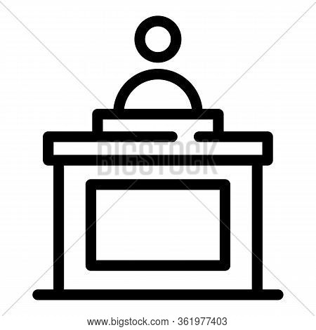 Witness In Court Icon. Outline Witness In Court Vector Icon For Web Design Isolated On White Backgro