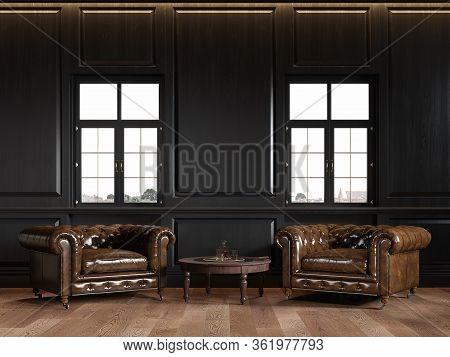 Classic Black Loft Interior With Wall Panels, Coffee Table, Windows And Chesterfield Armchairs. 3d R