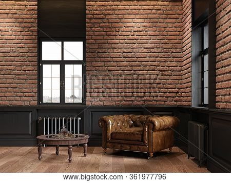 Loft Interior With Brick, Chesterfield Armchair, Coffee Table And Windows. 3d Render Illustration Mo