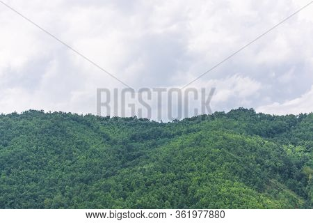 Wave Of Green Forest Hills Against Cloudy Sky