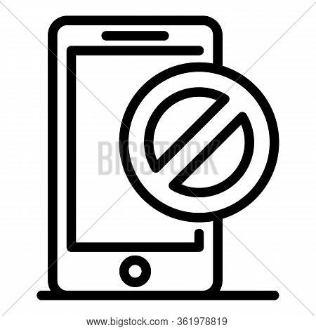 Denied On Smartphone Icon. Outline Denied On Smartphone Vector Icon For Web Design Isolated On White