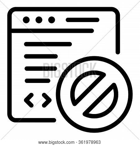 Denied On Web Application Icon. Outline Denied On Web Application Vector Icon For Web Design Isolate